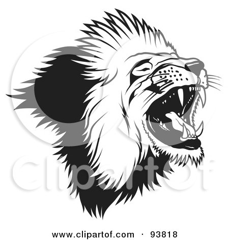 Royalty-Free (RF) Clipart Illustration of a Black And White Roaring Male Lion Head - 2 by dero
