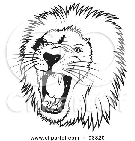 Royalty-Free (RF) Clipart Illustration of a Black And White Roaring Male Lion Head - 1 by dero
