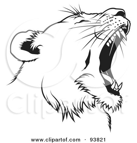 Royalty-Free (RF) Clipart Illustration of a Black And White Roaring Female Lion Head - 2 by dero