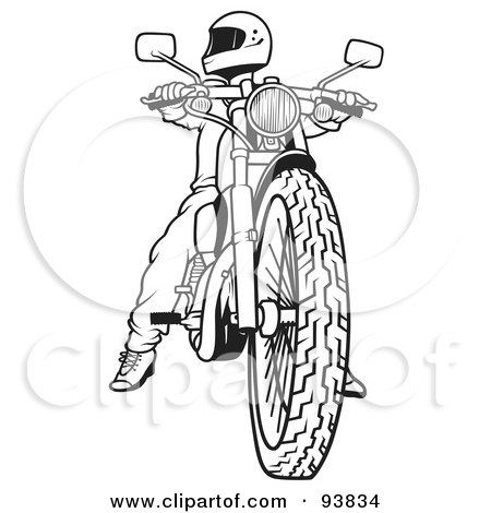 Royalty-Free (RF) Clipart Illustration of a Black And White Outline Of A Motorcycle Biker - 2 by dero