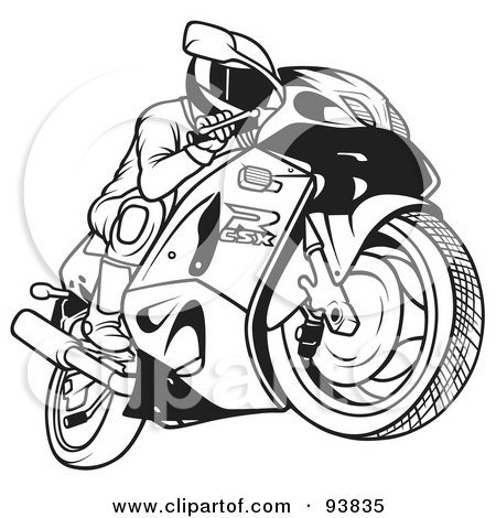 Royalty-Free (RF) Clipart Illustration of a Black And White Outline Of A Motorcycle Biker - 1 by dero