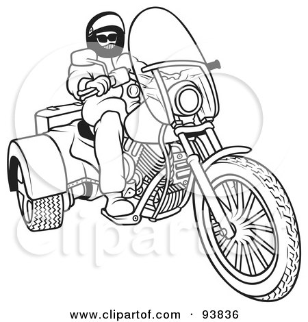 Royalty-Free (RF) Clipart Illustration of a Black And White Outline Of A Motorcycle Biker - 5 by dero
