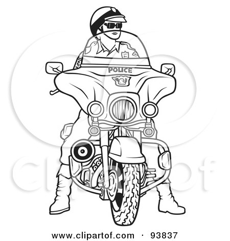 Royalty-Free (RF) Clipart Illustration of a Black And White Outline Of A Motorcycle Police Officer by dero