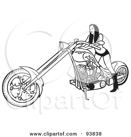 Royalty-Free (RF) Clipart Illustration of a Black And White Outline Of A Sexy Female Motorcycle Biker by dero