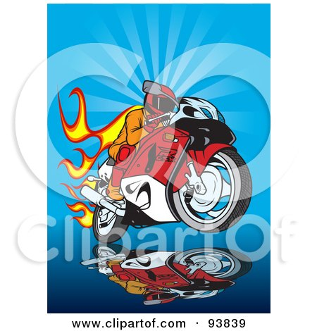 Royalty-Free (RF) Clipart Illustration of a Motorcycle Biker With Flames Over Blue by dero