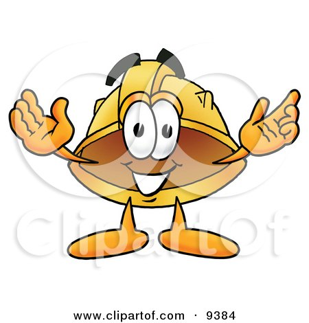 Clipart Picture of a Hard Hat Mascot Cartoon Character With Welcoming Open Arms by Toons4Biz