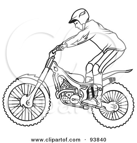 Royalty-Free (RF) Clipart Illustration of a Black And White Outline Of A Motorcycle Biker - 3 by dero
