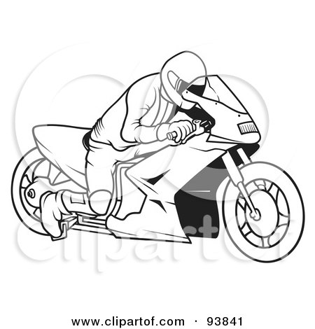 Royalty-Free (RF) Clipart Illustration of a Black And White Outline Of A Motorcycle Biker - 6 by dero