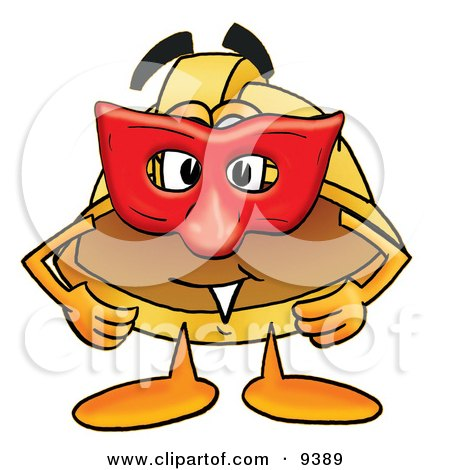 Clipart Picture of a Hard Hat Mascot Cartoon Character Wearing a Red Mask Over His Face by Toons4Biz