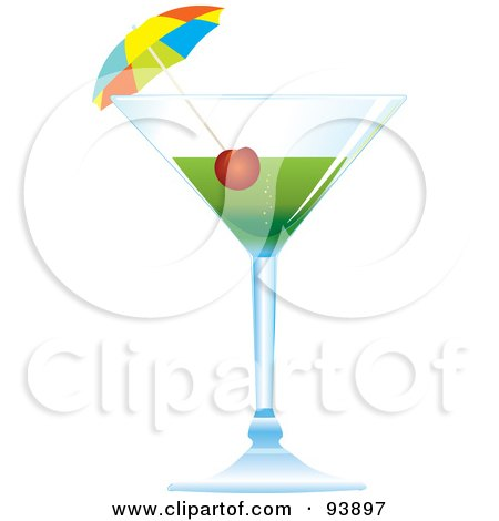 Royalty-Free (RF) Clipart Illustration of a Cocktail Umbrella And Cherry In A Green Alcoholic Beverage by toonster