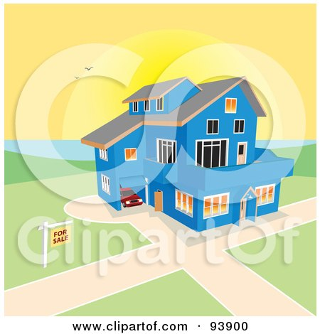Royalty-Free (RF) Clipart Illustration of a For Sale Sign Near A Large Blue Coastal Home Against A Sunset by toonster