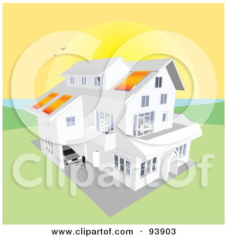 Royalty-Free (RF) Clipart Illustration of a Large Coastal Home With Solar Panels, Under A Giant Coastal Sunset by toonster