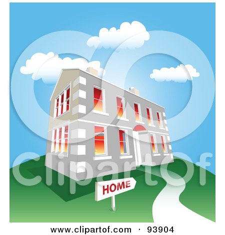 Royalty-Free (RF) Clipart Illustration of a Large Stone Home On A Green Hill Under A Blue Sky by toonster