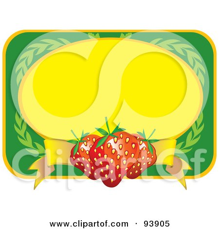 Royalty-Free (RF) Clipart Illustration of a Green And Yellow Label With Strawberries And Leaves by toonster