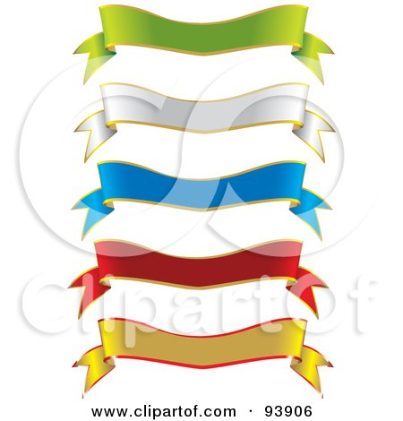 Royalty-Free (RF) Clipart Illustration of a Digital Collage Of Two Toned Green, White, Blue, Red And Yellow Ribbon Banners by toonster