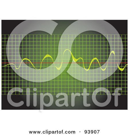 Royalty-Free (RF) Clipart Illustration of a Green Graph With Yellow Beats Over A Red Line by toonster