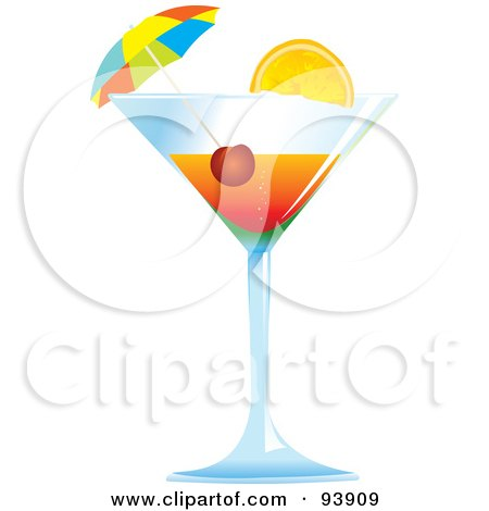 Royalty-Free (RF) Clipart Illustration of a Cocktail Umbrella And Cherry In A Tropical Alcoholic Beverage by toonster