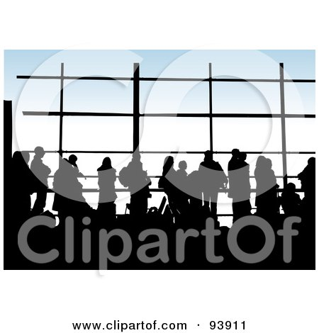 Royalty-Free (RF) Clipart Illustration of Silhouetted People Against Windows In An Airport Lounge by toonster