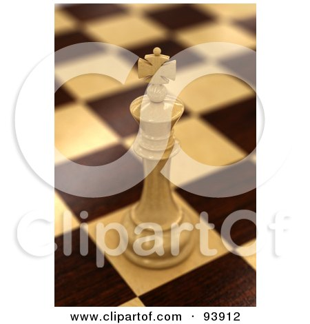 Royalty-Free (RF) Clipart Illustration of a 3d White Chess King On A Chess Wooden Baord by stockillustrations