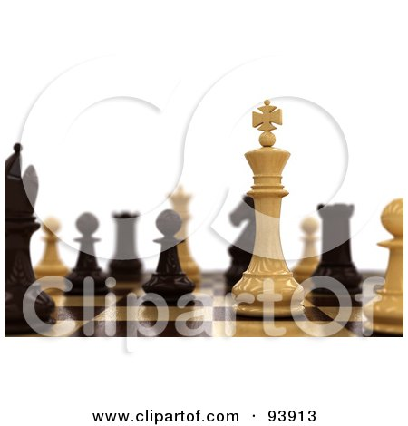 Royalty-Free (RF) Clipart Illustration of 3d Chess Pieces Set Up On A Board by stockillustrations