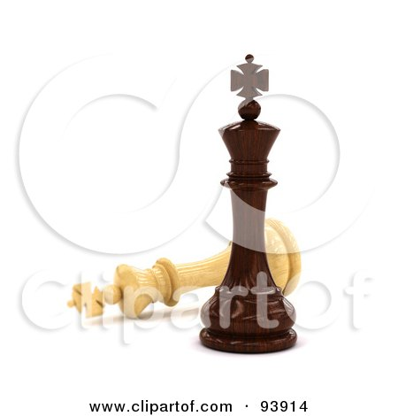 Royalty-Free (RF) Clipart Illustration of a 3d Black Chess King Standing Victoriously Over A White King by stockillustrations
