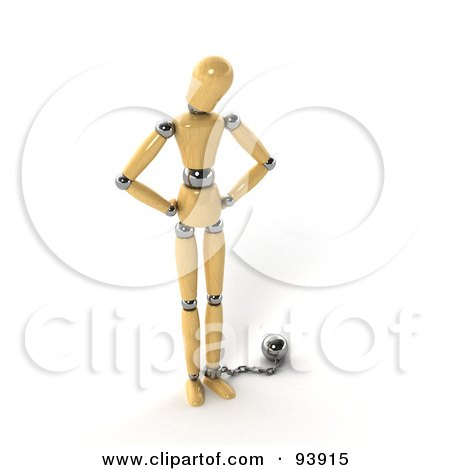 Royalty-Free (RF) Clipart Illustration of a 3d Wood Manequin Chained To A Ball by stockillustrations