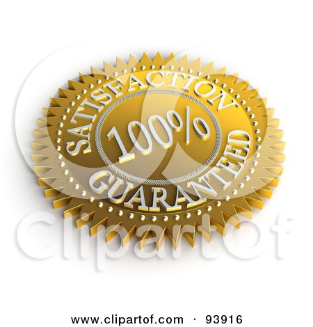 Royalty-Free (RF) Clipart Illustration of a 3d Golden 100 Percent Satisfaction Guaranteed Seal by stockillustrations