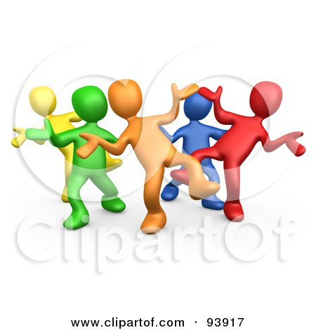Royalty-Free (RF) Clipart Illustration of a Diverse Group Dancing And Having Fun At A Party by 3poD
