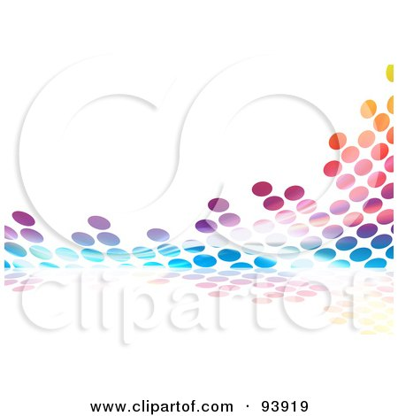 Royalty-Free (RF) Clipart Illustration of a Colorful Halftone Dot Equalizer Background On White - 2 by Arena Creative