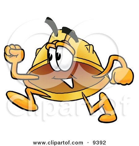 Clipart Picture of a Hard Hat Mascot Cartoon Character Running by Toons4Biz
