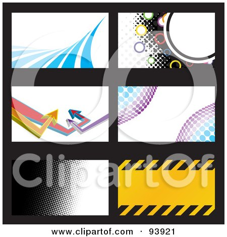 Royalty-Free (RF) Clipart Illustration of a Digital Collage Of Six Wave, Halftone, Arrow, And Hazard Stripe Business Card Design Templates by Arena Creative