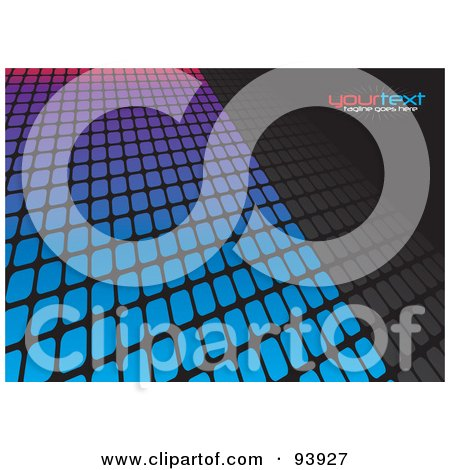 Royalty-Free (RF) Clipart Illustration of a Background Of Blue, Purple And Pink Tiles Over Black, With Text Space by Arena Creative