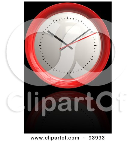 Royalty-Free (RF) Clipart Illustration of a 3d Round Red Clock Over Reflective Black by Arena Creative