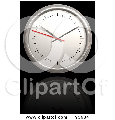 Royalty-Free (RF) Clipart Illustration of a 3d Round Clock Over Reflective Black by Arena Creative
