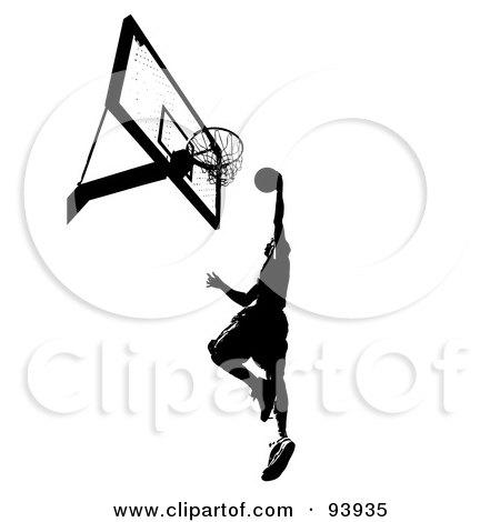 Royalty-Free (RF) Clipart Illustration of a Black Silhouetted Man Leaping Towards A Basketball Hoop by Arena Creative