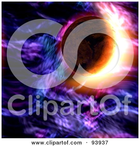 Royalty-Free (RF) Clipart Illustration of a Flare Behind A Planet In Purple Space by Arena Creative