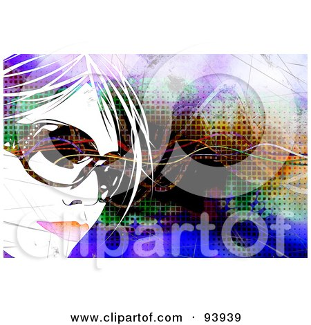 Royalty-Free (RF) Clipart Illustration of a Woman's Face Wearing Sunglasses, Over A Colorful Background Of Linse And Halftone by Arena Creative