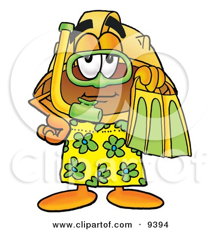 Clipart Picture of a Hard Hat Mascot Cartoon Character in Green and Yellow Snorkel Gear by Toons4Biz