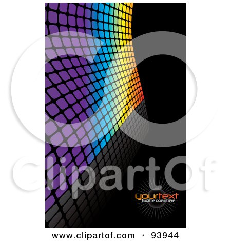 Royalty-Free (RF) Clipart Illustration of a Background Of Colorful Tiles Over Black, With Text Space by Arena Creative