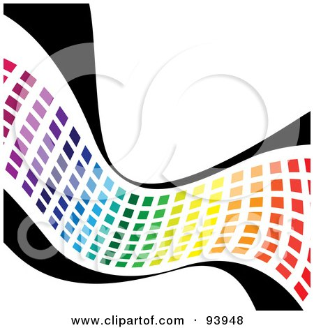 Royalty-Free (RF) Clipart Illustration of a Wave Of Rainbow Colored Squares On Black by Arena Creative