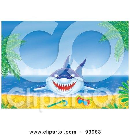 Royalty-Free (RF) Clipart Illustration of a Blue Shark Jumping On Shore Near Snorkel Gear by Alex Bannykh