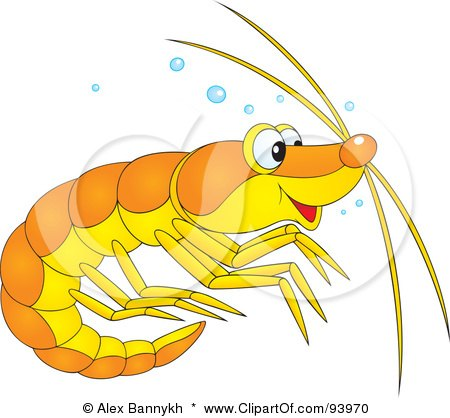 Royalty-Free (RF) Clipart Illustration of a Cute Yellow And Orange Prawn Or Shrimp With Bubbles by Alex Bannykh
