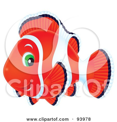 Royalty-Free (RF) Clipart Illustration of a Red And White Airbrushed Clownfish With Green Eyes by Alex Bannykh
