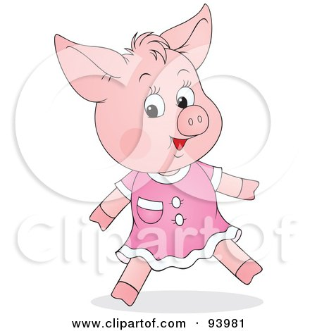 Royalty-Free (RF) Clipart Illustration of a Cute Female Piglet In A Pink Dress by Alex Bannykh