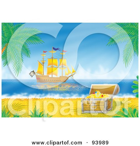 Royalty-Free (RF) Clipart Illustration of a Pirate Ship Off The Coast, With A Treasure Chest In The Foreground by Alex Bannykh