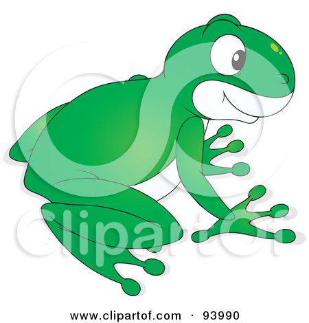 Royalty-Free (RF) Clipart Illustration of a Cute Green And White Tree Frog by Alex Bannykh