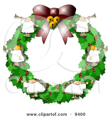 Clipart Illustration of Angels on a Christmas Wreath, Playing Horns by djart