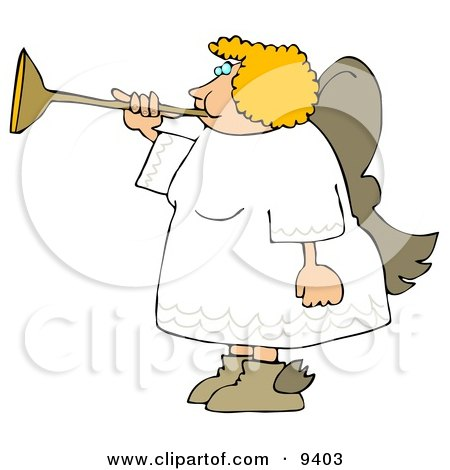 Female Blond Angel Playing A Horn Clipart Illustration