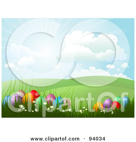 Royalty-Free (RF) Clipart Illustration of The Sun Shining In The Sky Over Green Hills And Easter Eggs In Grass by KJ Pargeter