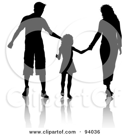 Royalty-Free (RF) Clipart Illustration of a Black Silhouetted Dad, Mom And Daughter Walking And Holding Hands by KJ Pargeter